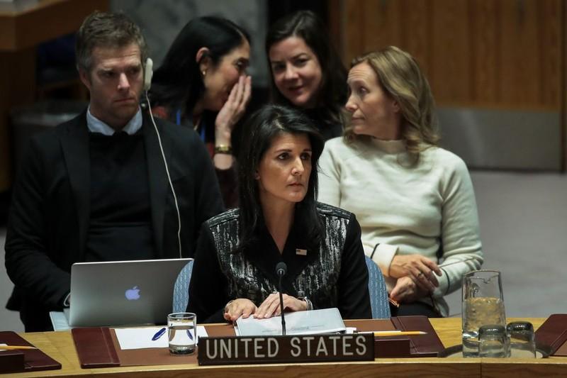 Đại sứ Mỹ tại LHQ Nikki Haley trong phiên họp HĐBA LHQ ngày 5-1. Ảnh: GETTY IMAGES