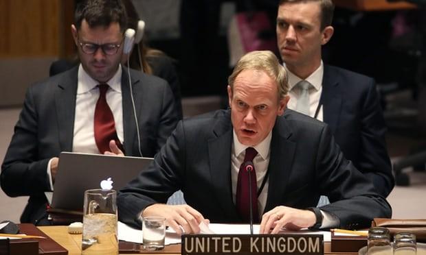 Đại sứ Anh tại  LHQ Matthew Rycroft trong phiên họp HĐBA LHQ ngày 5-1. Ảnh: GETTY IMAGES