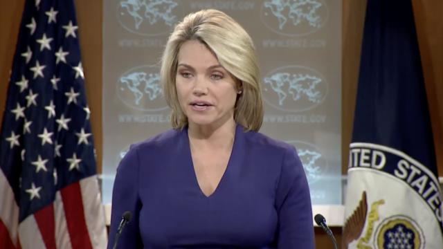 Người phát ngôn Bộ Ngoại giao Mỹ Heather Nauert từ chối nhận câu hỏi từ các nhà báo Nga trong cuộc họp báo ngày 1-3. Ảnh: THE HILL