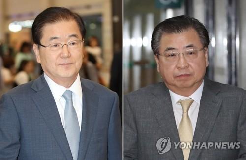 Giám đốc Văn phòng An ninh Quốc gia Hàn Quốc Chung Eui-yong (trái) và Giám đốc Cơ quan Tình báo Quốc gia Hàn Quốc Suh Hoon sẽ cùng có mặt trong phái đoàn Hàn Quốc sang Triều Tiên chiều 5-3. Ảnh: YONHAP