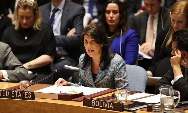 Đại sứ Mỹ tại LHQ Nikki Haley tại cuộc họp HĐBA LHQ về Syria ngày 12-3. Ảnh GETTY IMAGES