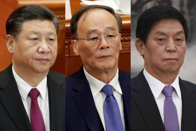 Chủ tịch Trung Quốc Tập Cận Bình (phải) và hai Phó Chủ tịch Vương Kỳ Sơn (giữa), Lật Chính Thư.