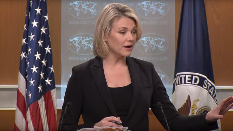 Người phát ngôn Bộ Ngoại giao Mỹ Heather Nauert – vừa được đề cử làm Quyền Thứ trưởng Ngoại giao – nói Mỹ không cần bằng chứng vụ cha con điệp viên Nga bị đầu độc. Ảnh: RT