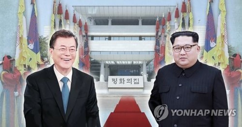 Cuộc gặp thượng đỉnh giữa Tổng thống Hàn Quốc Moon Jae-in (trái) và lãnh đạo Triều Tiên Kim Jong-un sẽ diễn ra sáng nay 27-4. Ảnh: YONHAP