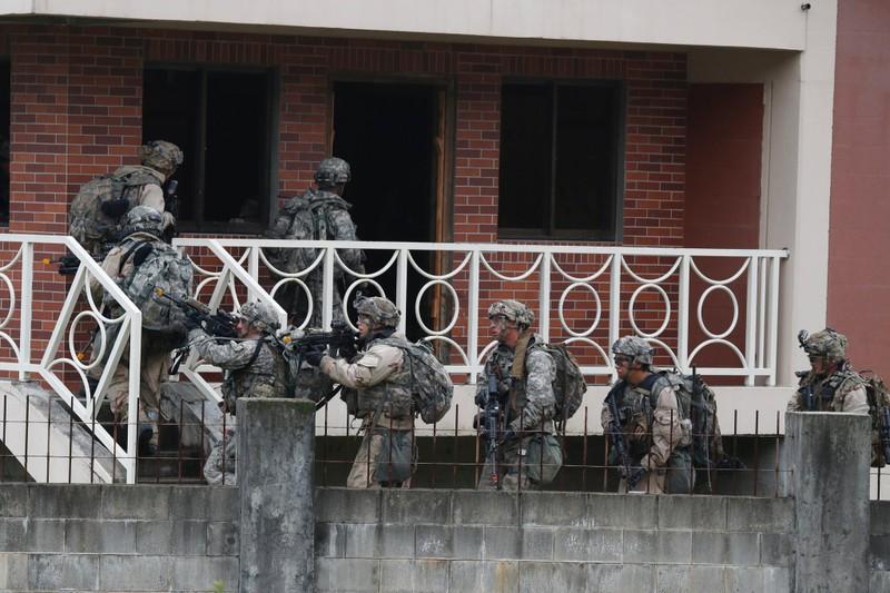 Lính Mỹ huấn luyện ở Hàn Quốc năm 2017. Ảnh: EPA