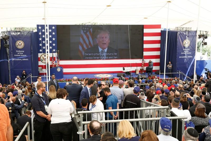 Mỹ chính thức khánh thành đại sứ quán ở Jerusalem ngày 14-5. Tổng thống Mỹ Donald Trump gửi đến buổi lễ thông điệp chúc mừng qua video. Ảnh: EPA