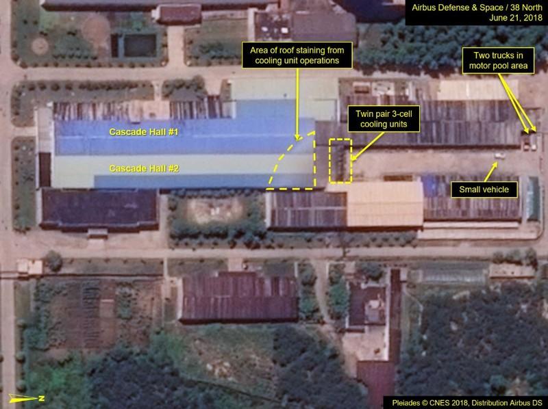 Các hoạt động vẫn tiếp tục tại nhà máy làm giàu uranium. Ảnh: 38 NORTH