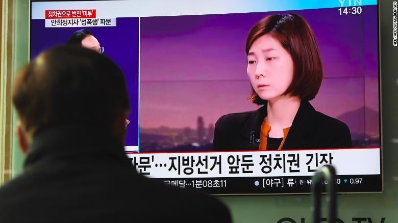 Cô Kim tố cáo ông Ahn trên truyền hình ngày 6-3. Ảnh: CNN