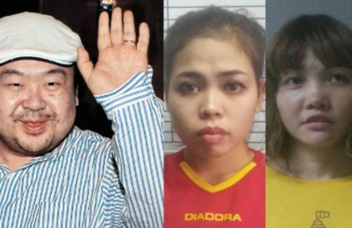 Ông Kim Jong-nam (trái) và hai nghi can Siti Aisyah (giữa) và Đoàn Thị Hương (phải). Ảnh: AFP