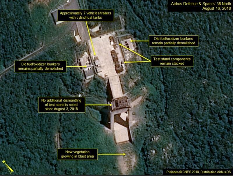 """Hình ảnh vệ tinh trên 38 North cho thấy Triều Tiên """"không có hoạt động xóa bỏ nào đáng kể"""" tại Trạm phóng vệ tinh Sohae từ ngày 3-8. Ảnh: 38 NORTH"""