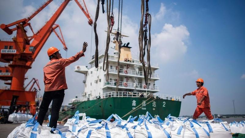 Công nhân dỡ hàng tại Trương Gia cảng ở tỉnh Giang Tô (Trung Quốc) ngày 7-8. Ảnh: AFP