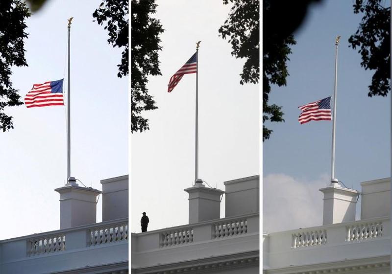 Cờ Nhà Trắng hạ thấp một nửa sáng 26-8 tưởng niệm nghị sĩ McCain (trái), được nâng cao lên lại vào sáng 27-8 (giữa), và sau đó được hạ thấp xuống lại chiều 27-8 (phải). Ảnh: REUTERS
