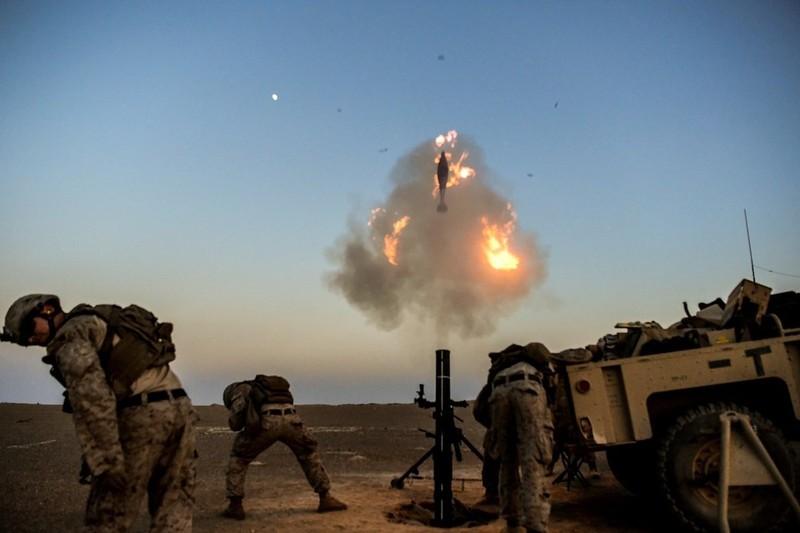 Lính thủy đánh bộ Mỹ trong một đợt huấn luyện ở Syria ngày 23-7. Ảnh: US AIR FORCE