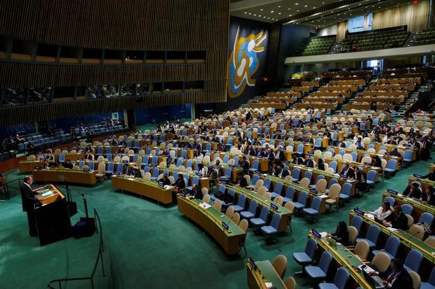 Ngoại trưởng Nga Sergei Lavrov phát biểu tại kỳ họp Đại Hội đồng LHQ ngày 28-9. Ảnh: AFP