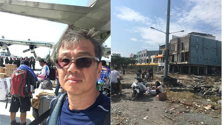 Ông Ng Kok Choong (trái) sống sót sau thảm họa kép động đất-sóng thần ở Sulawesi (Indonesia) chiều 28-9 và quang cảnh Palu sau thảm họa (phải). Ảnh: NG KOK CHOONG