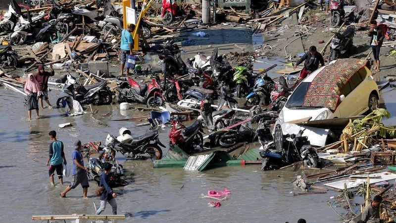 Bãi biển Palu, tỉnh Trung Sulawesi sau thảm họa. Ảnh: ANTARA