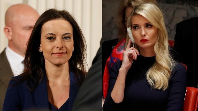 Bà Dina Powell (trái) và cô Ivanka Trump. Ảnh: REUTERS