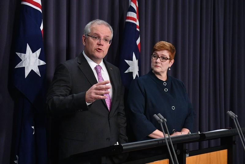 Thủ tướng Úc Scott Morrison và Ngoại trưởng Úc Marise Payne tại Quốc hội ngày 16-10. Ảnh: EPA