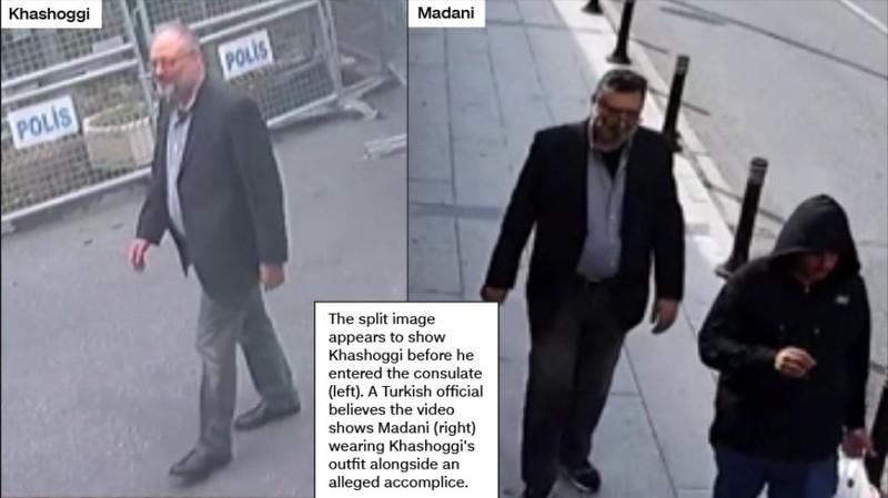 Bên trái: nhà báo Khashoggi trước khi bước vào lãnh sự quán Saudi ở Istanbul (Thổ Nhĩ Kỳ) ngày 2-10. Bên phải: ông Madani trong trang phục của nhà báo Khashoggi trên đường phố Istanbul cùng một đồng sự phía trên. Ảnh: CNN