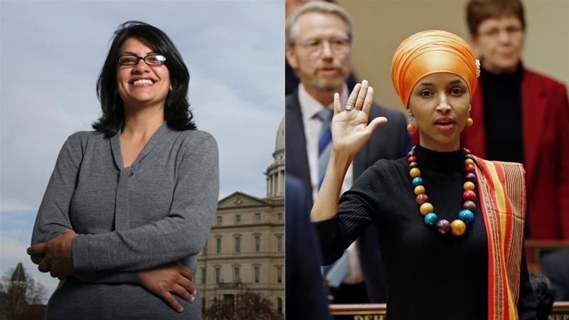 Hai nữ hạ nghị sĩ gốc Hồi giáo đầu tiên: Rashida Tlaib và Ilhan Omar. Ảnh: AP