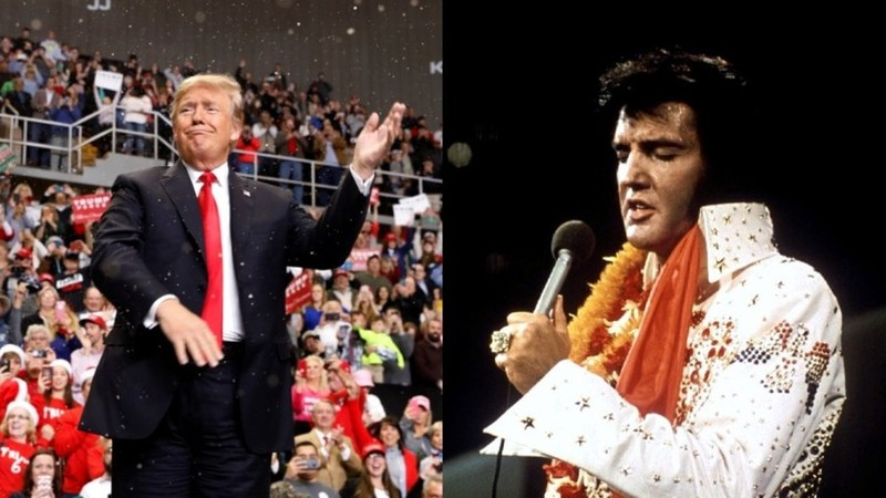 Tổng thống Mỹ Donald Trump (trái) và ca sĩ huyền thoại Elvis Presley (phải). Ảnh: REUTERS