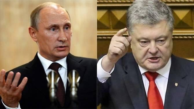 Căng thẳng Nga-Ukraine đang có nguy cơ dẫn đến chiến tranh. Tổng thống Nga Vladimir Putin (trái) và Tổng thống Ukraine Petro Poroshenko. Ảnh: AFP