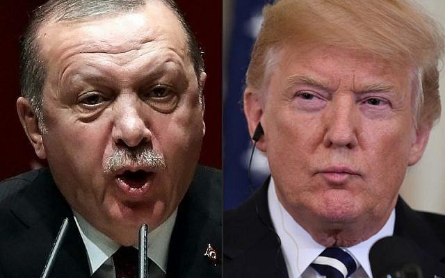Tổng thống Mỹ Donald Trump (phải) phải thuyết phục Tổng thống Thổ Nhĩ Kỳ Recept Tayyip Erdogan không đánh YPG nếu không sẽ bị gán tội rũ bỏ đồng minh. Ảnh: AFP