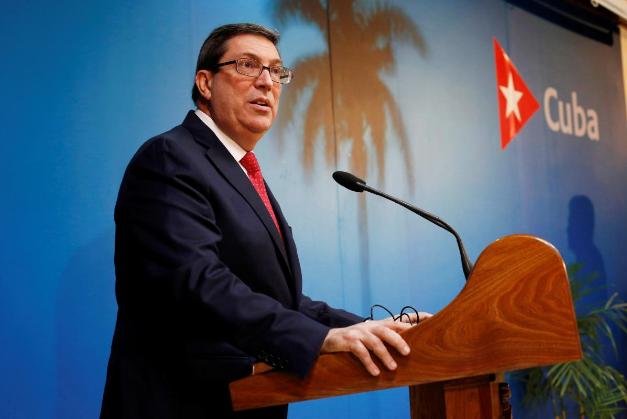 Bộ trưởng Ngoại giao Cuba Bruno Rodriguez phát biểu tại cuộc họp báo ở thủ đô Havana (Cuba) ngày 19-2. Ảnh: REUTERS