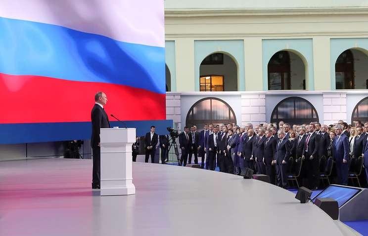 Tổng thống Nga Vladimir Putin phát biểu Thông điệp Liên bang trước các nghị sĩ, quan chức Hội đồng Liên bang, và nhiều quan chức cấp cao khác tại Quốc hội Nga ở Moscow (Nga) ngày 20-2. Ảnh: TASS