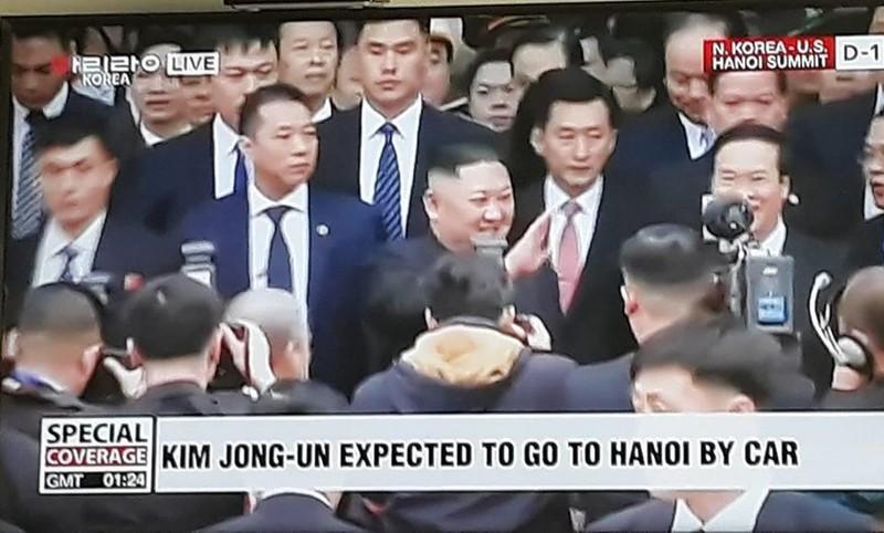 Lãnh đạo Triều Tiên Kim Jong-un đến Việt Nam sáng nay. Ảnh: Chụp từ màn hình ARIRANG
