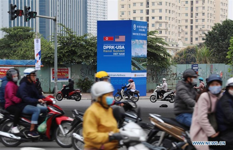Đường phố Hà Nội chuẩn bị đón thượng đỉnh Mỹ-Triều. Ảnh: THX
