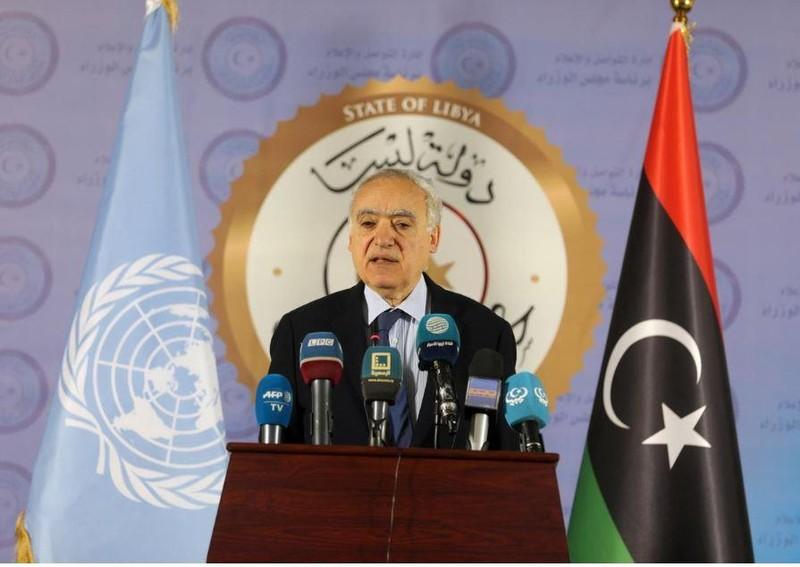 Đặc phái viên Liên Hiệp Quốc về Libya Ghassan Salame họp báo ở Tripoli (Libya) ngày 6-4. Ảnh: REUTERS