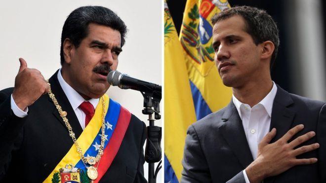Hai ông Maduro (trái) và Guaido (phải) có thể cùng gặp nguy hiểm với Mỹ. Ảnh: AMERICAN HERALD TRIBUNE