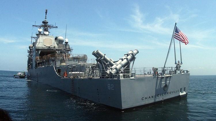 Tàu tuần dương tên lửa USS Chancellorsville lớp Ticonderoga của Mỹ. Ảnh: KING5