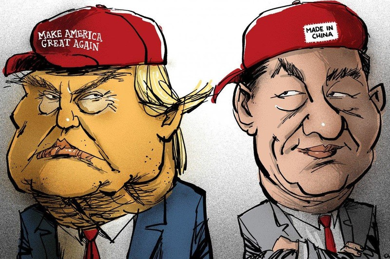 """Tranh của họa sĩ Stephen Case: Tổng thống Mỹ Donald Trump (trái) đội nón mang dòng chữ """"Đưa nước Mỹ vĩ đại trở lại"""" và Chủ tịch Trung Quốc Tập Cận Bình (phải) đội nón mang dòng chữ"""