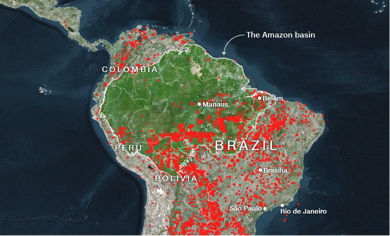 Bản đồ thống kê các đám cháy ở rừng Amazon hiện tại. Ảnh: CNN