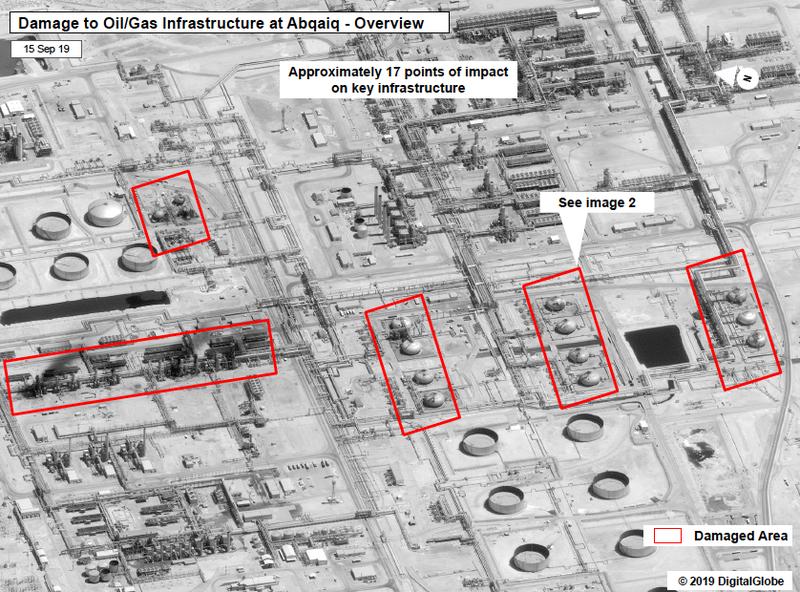 Hình ảnh vệ tinh cho thấy nhà máy lọc dầu của Saudi Arabia bị tấn công ngày 14-9. Ảnh: WSJ
