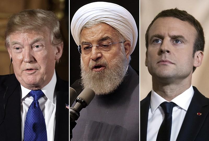 Từ trái sang: Tổng thống Mỹ Donald Trump, Tổng thống Iran Hasan Rouhani, Tổng thống Pháp Emmanuel Macron. Ảnh: SALON