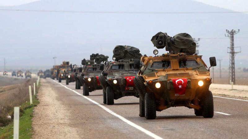Đoàn xe quân sự của Thổ Nhĩ Kỳ ở bắc Syria. Ảnh: GLP