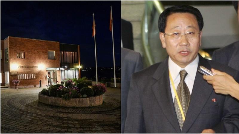 Trung tâm hội nghị Villa Elfvik Strand ở Stockholm (Thụy Điển), nơi diễn ra cuộc đàm phán hạt nhân Mỹ-Triều ngày 4-10 (trái), và trưởng đoàn đàm phán phía Triều Tiên Kim Myong-gil (phải). Ảnh: REUTERS