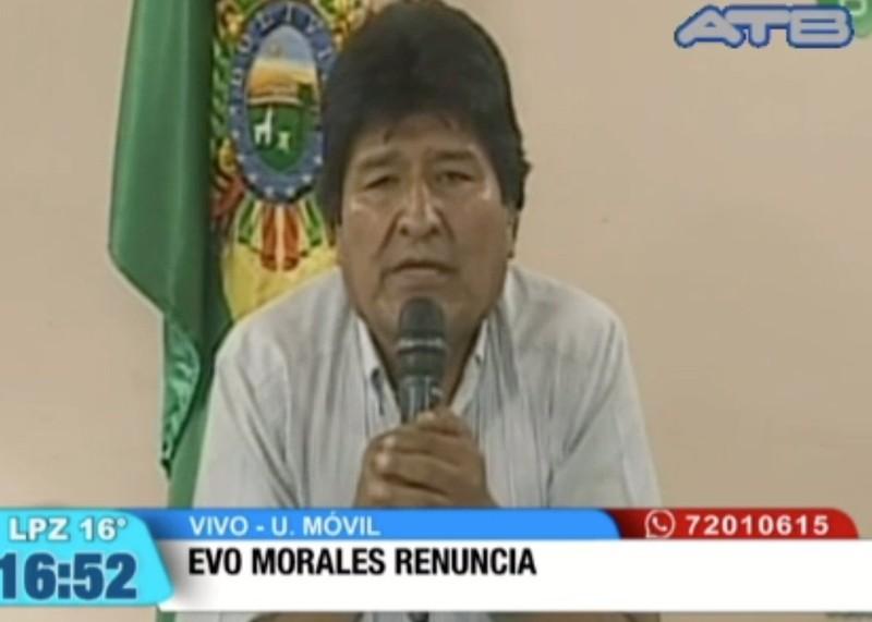 Tổng thống Bolivia Evo Morales tuyên bố từ chức trên truyền hình. Ảnh: TWITTER
