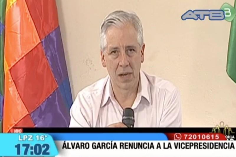 Phó Tổng thống Bolivia Alvaro Marcelo García Linera cũng tuyên bố từ chức. Ảnh: TWITTER