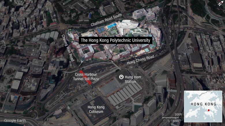 Trường đại học Bách Khoa đang là điểm nóng biểu tình ở Hong Kong. Ảnh: CNN