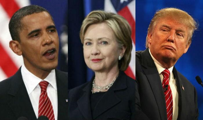 Bà Hillary Clinton (giữa) thua ông Barack Obama (trái) trong cuộc chạy đua tổng thống đầu tiên và thua ông Donald Trump (phải) trong cuộc đua tổng thống thứ hai. Ảnh: INDIA.COM