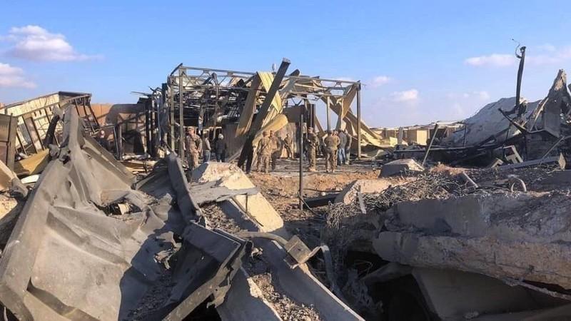 Căn cứ Ayn al-Asad sau khi hứng tên lửa Iran. Ảnh: TWITTER