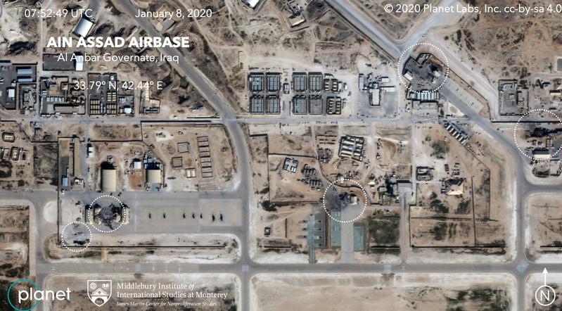 Ảnh vệ tinh cho thấy có ít nhất 5 khu hạ tầng ở căn cứ Ayn al-Asad bị hư hại sau khi Iran nã tên lửa. Ảnh: PLANET