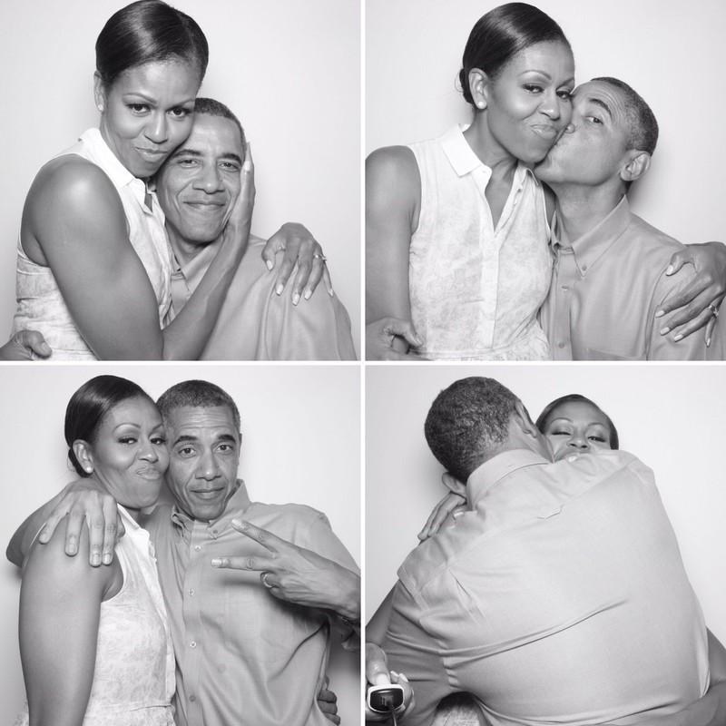 Bốn bức ảnh tình tứ chụp cùng vợ được ông Obama đưa lên Twitter chúc mừng sinh nhật vợ. Ảnh: TWITTER
