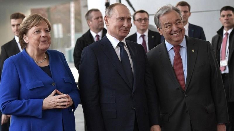 Các lãnh đạo thế giới họp bàn về Libya, tại Berlin (Đức) ngày 19-1. Ảnh: KREMLIN.RU