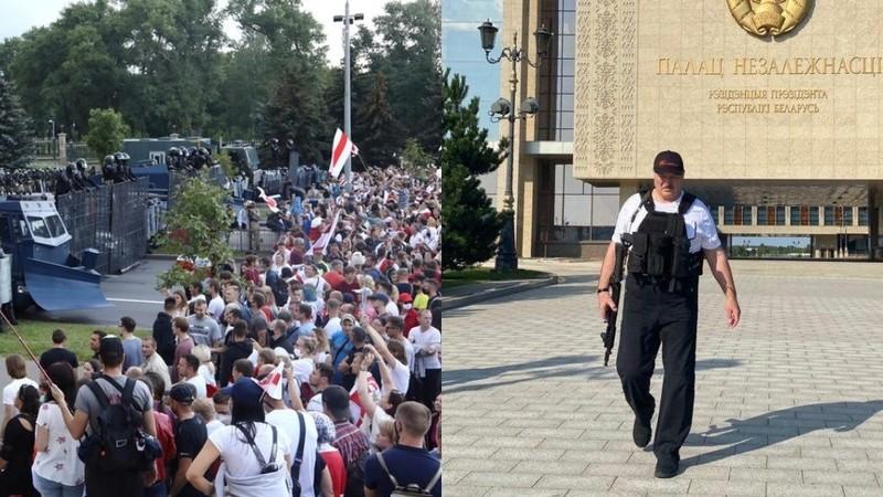 Biểu tình lớn, ông Lukashenko lại mặc áo chống đạn, cầm súng - ảnh 2