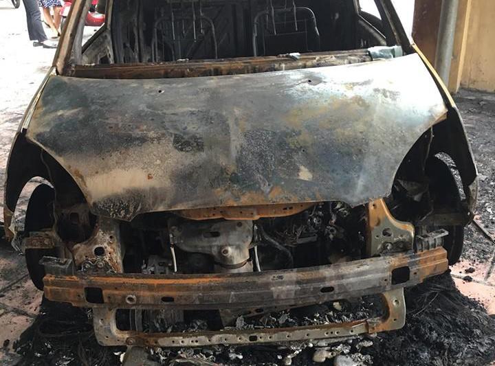 Ô tô của đại úy CSGT bị đốt cháy rụi trước cổng trụ sở - ảnh 2